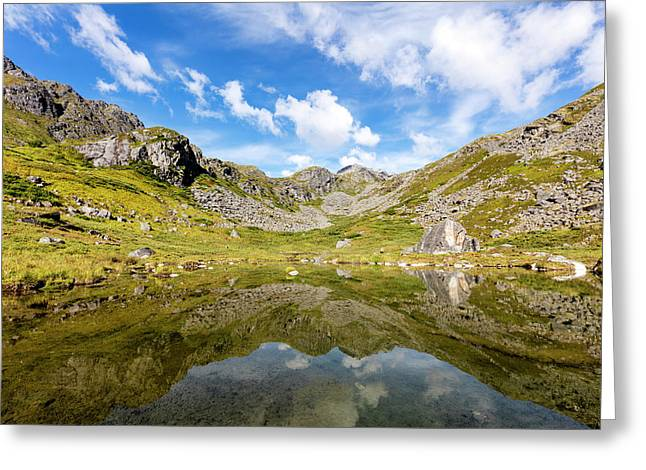 Reflection Of The Talkeetna Mountains Greeting Card by Ray Bulson