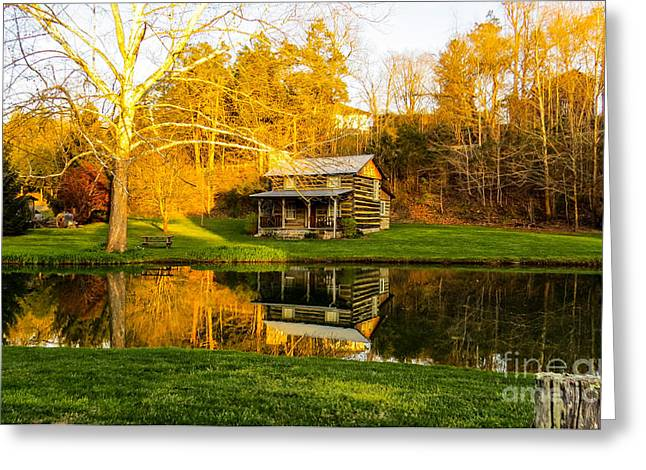 Log Cabins Greeting Cards - Reflection Of Time Greeting Card by Brenda Bostic