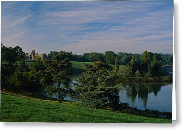Famous Bridge Greeting Cards - Reflection Of Trees And A Bridge Greeting Card by Panoramic Images