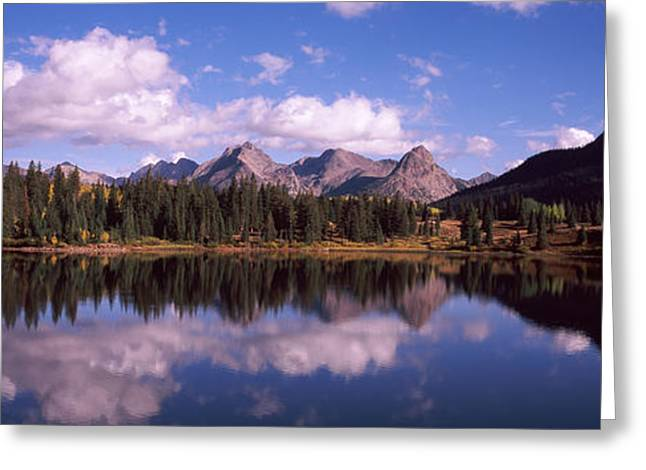 Mola Greeting Cards - Reflection Of Trees And Clouds Greeting Card by Panoramic Images