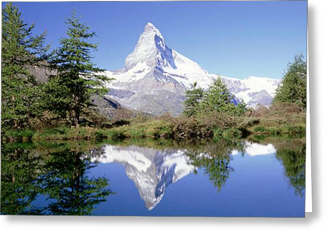 Mountain Greeting Cards - Reflection Of Trees And Mountain Greeting Card by Panoramic Images