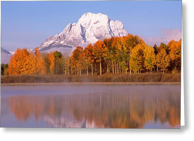 Reflection Of Trees In A River, Oxbow Greeting Card by Panoramic Images