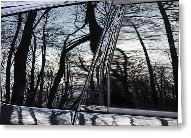Exceptional Greeting Cards - Reflection of trees in black car window Greeting Card by Matthias Hauser