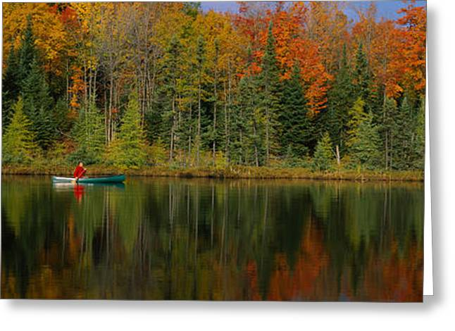 Canoe Photographs Greeting Cards - Reflection Of Trees In Water Greeting Card by Panoramic Images