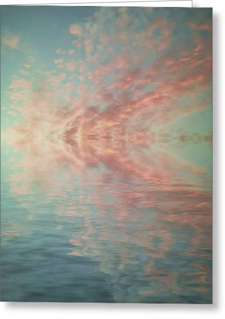 Canvas Floral Greeting Cards - Reflection of Turquoise Skies Greeting Card by Holly Martin