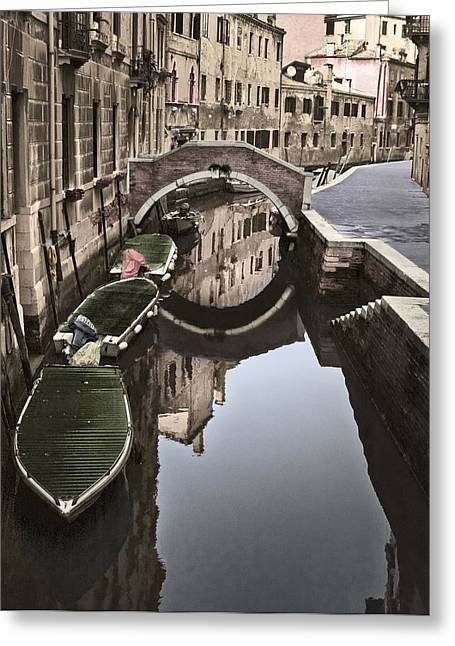 Subtle Colors Greeting Cards - Reflection of Venice Greeting Card by Joseph Yvon Cote