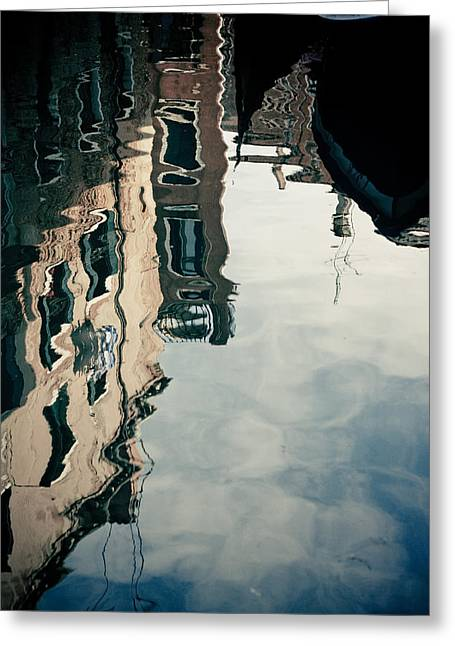 Gondolier Greeting Cards - Reflection of Venice on Grand Canal Italy Greeting Card by Raimond Klavins
