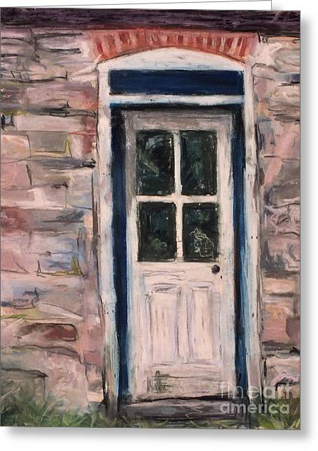 Barn Door Pastels Greeting Cards - Reflection on Old Door Greeting Card by Laura Sullivan
