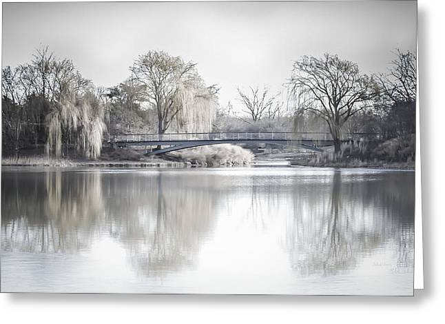 Willow Lake Digital Art Greeting Cards - Reflection Over Lake Winter Scene Greeting Card by Julie Palencia