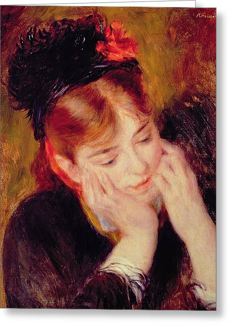 Lost In Thought Paintings Greeting Cards - Reflection Greeting Card by Pierre Auguste Renoir