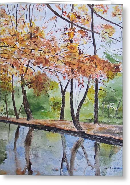 Trees Reflecting In Water Paintings Greeting Cards - Reflection Pond Greeting Card by Peter Kundra