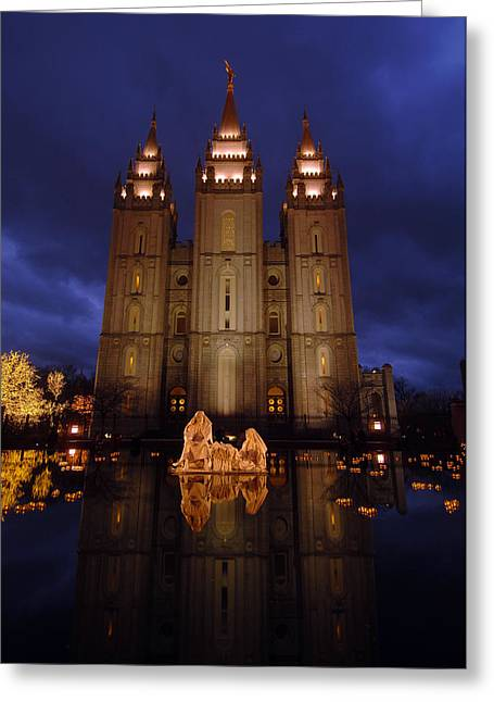 City Lights Greeting Cards - Reflection pool at the Salt Lake City Temple Greeting Card by Ron Brown Photographics