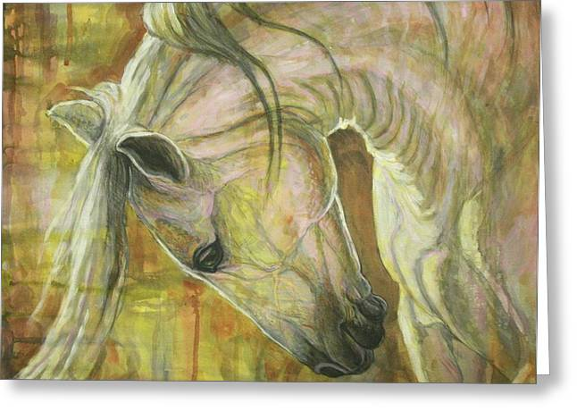 Horses Paintings Greeting Cards - Reflection Greeting Card by Silvana Gabudean