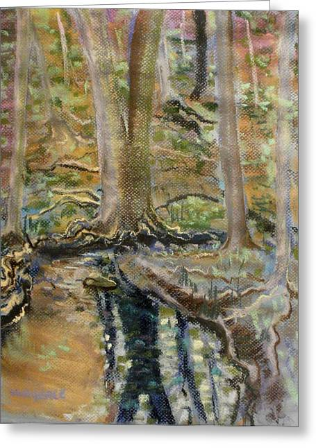 Tree Roots Pastels Greeting Cards - Reflection Greeting Card by Tim  Swagerle