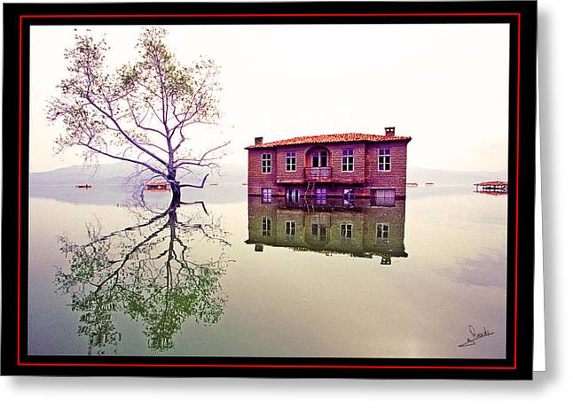 Lake House Pyrography Greeting Cards - Reflections 2 Greeting Card by George Rossidis