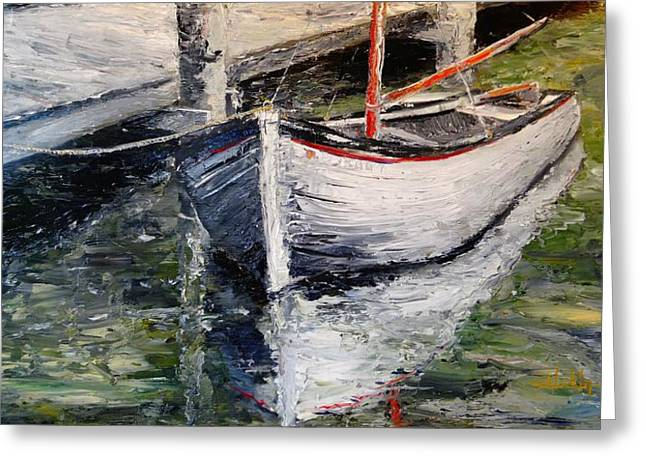 Boats On Water Greeting Cards - Reflections Greeting Card by Alan Lakin