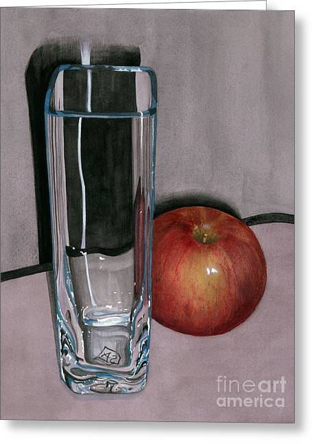 Apple Paintings Greeting Cards - Reflections and Shadows Greeting Card by Barbara Jewell