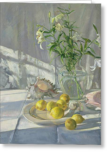 Spring Flowers Paintings Greeting Cards - Reflections and Shadows  Greeting Card by Timothy  Easton