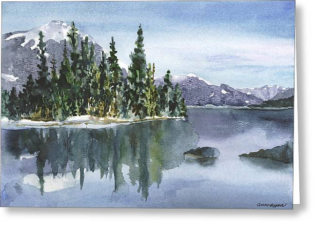 Snow Capped Greeting Cards - Reflections Greeting Card by Anne Gifford