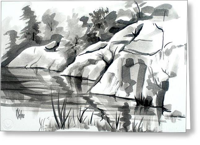 Rocks Drawings Greeting Cards - Reflections at Elephant Rocks State Park No I102 Greeting Card by Kip DeVore