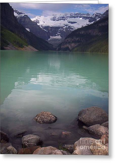 Blue Green Water Greeting Cards - Reflections at Lake Louise Greeting Card by Sharon Patterson