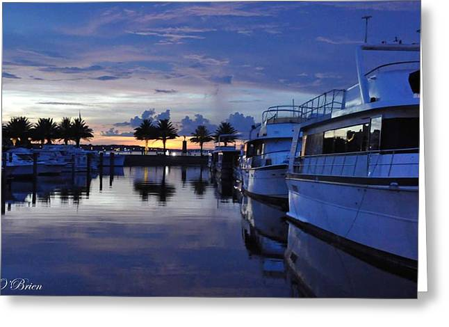 Masts Greeting Cards - Reflections at the Marina in Sanford Florida Greeting Card by Nicole O
