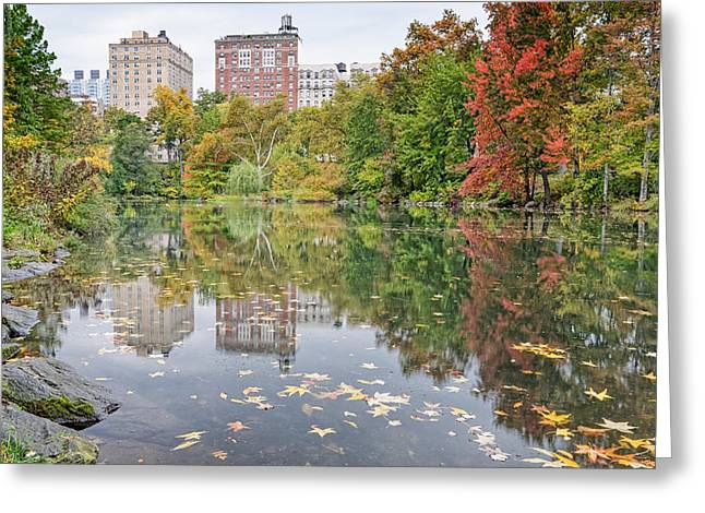 Central Park West Greeting Cards - Reflections at The Pool in Central Park Greeting Card by Silvio Ligutti