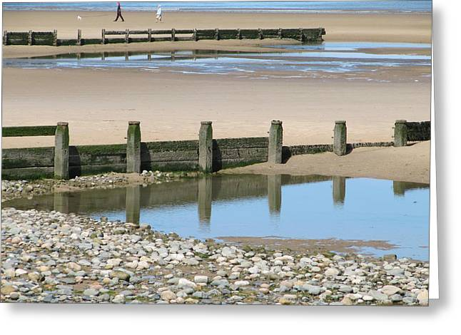 Seacape Greeting Cards - Reflections at the seaside and dog walkers Greeting Card by Errol  Jameson