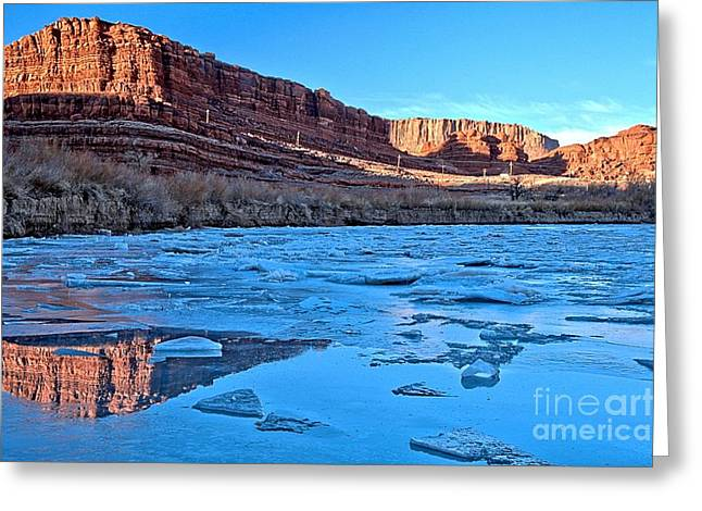 Southern Utah Greeting Cards - Reflections Between The Ice Greeting Card by Adam Jewell