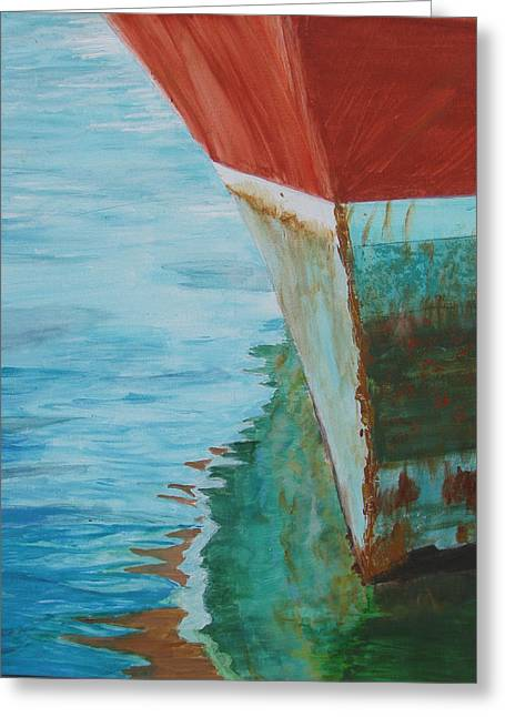 Boats At Dock Greeting Cards - Reflections  Greeting Card by Dawn Dreibus
