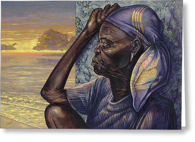 African Woman Greeting Cards - Reflections Greeting Card by Dennis Goff