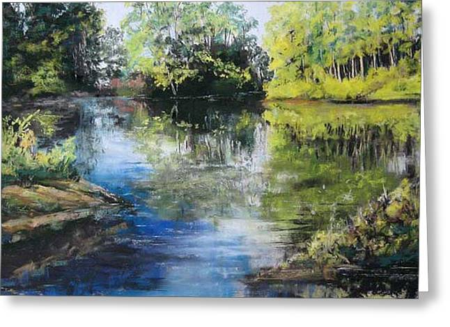 Water Garden Pastels Greeting Cards - Reflections Dow Gardens Greeting Card by Paula Wild