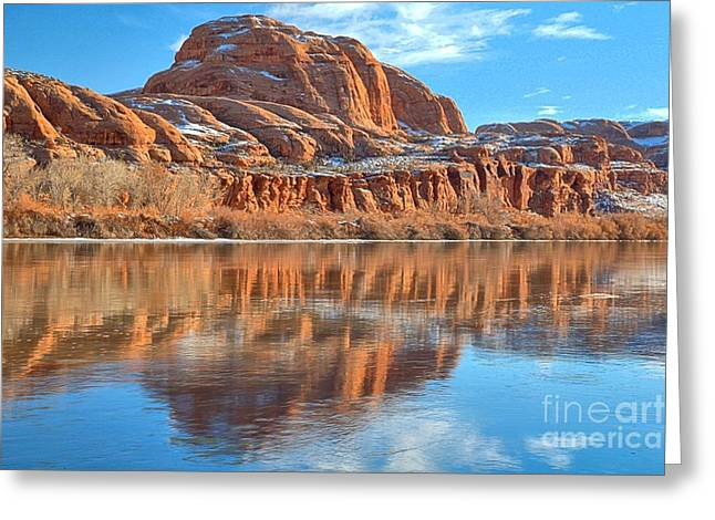 Southern Utah Greeting Cards - Reflections Down The Bank Greeting Card by Adam Jewell