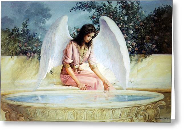 Angel Blues Greeting Cards - Reflections Greeting Card by Ed Tadiello