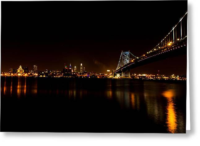 Ben Franklin Bridge Greeting Cards - Reflections from Philly Greeting Card by David Hahn