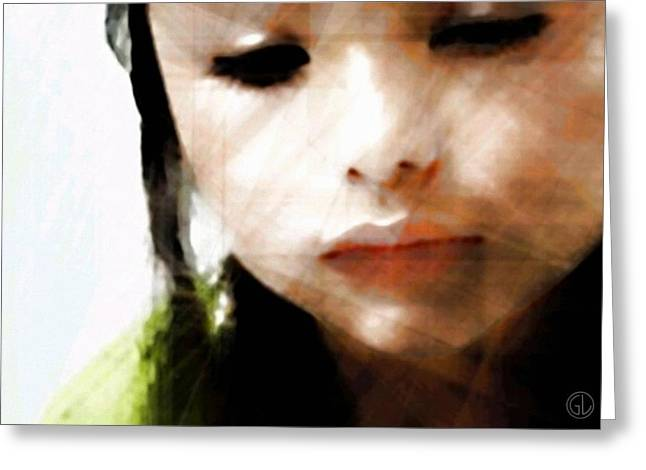 Girl Looking Down Greeting Cards - Reflections Greeting Card by Gun Legler