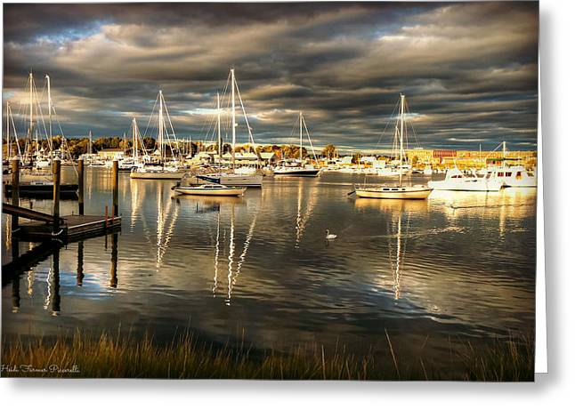 Barrington Greeting Cards - Reflections in Barrington Harbor Greeting Card by Heidi Piccerelli