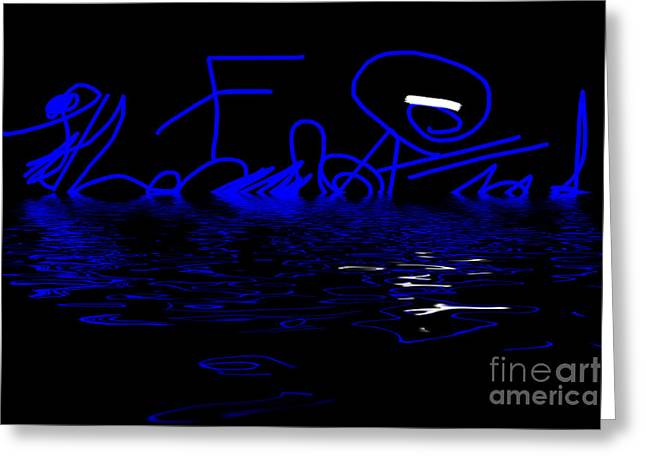 Lounge Digital Art Greeting Cards - Reflections in Blue - Abstract Greeting Card by Natalie Kinnear