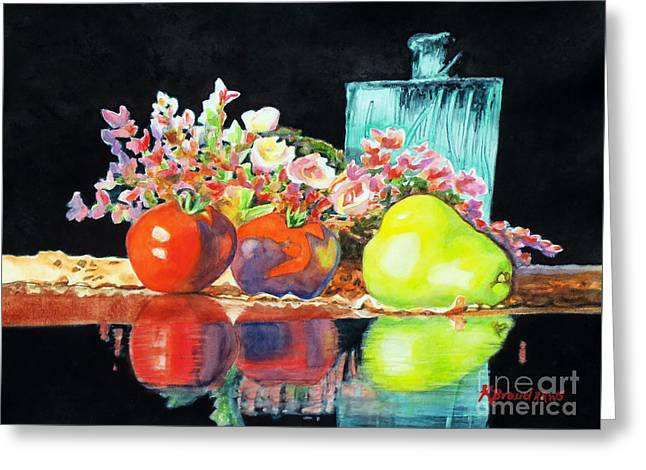 Interior Still Life Greeting Cards - Reflections in Color Greeting Card by Kathy Braud