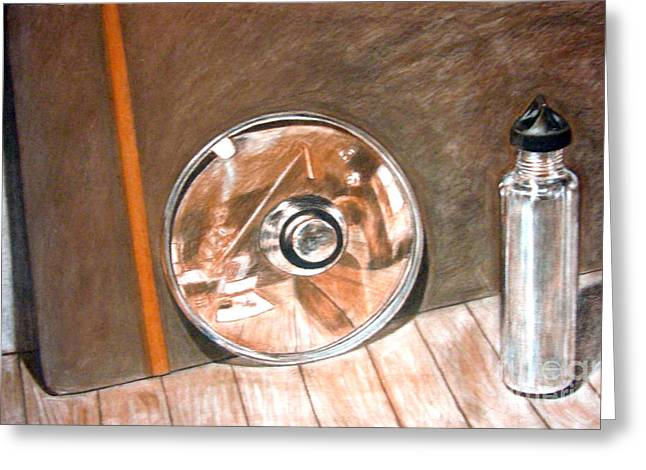 Bottle Cap Drawings Greeting Cards - Reflections in glass and steel a still life Greeting Card by Mukta Gupta