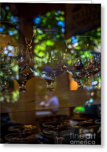 Wine Deco Art Photographs Greeting Cards - Reflections in Glass Greeting Card by Jim McCain