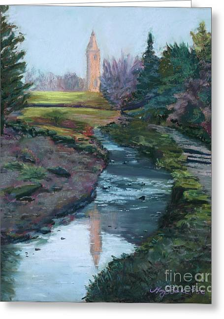 River View Pastels Greeting Cards - Reflections in History Greeting Card by Mary Benke