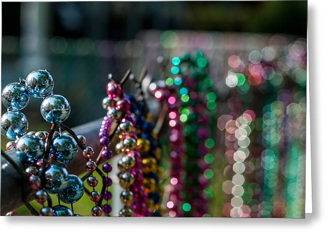 Gold Necklace Greeting Cards - Reflections in Mardi Gras beads Greeting Card by Andy Crawford