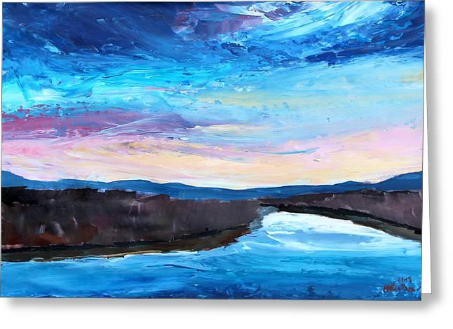 Jordan Paintings Greeting Cards - Reflections in River Jordan Israel Greeting Card by M Bleichner