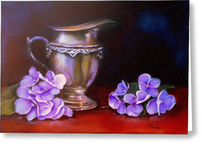 Flower Still Life Prints Greeting Cards - Reflections In Silver Greeting Card by Anne Barberi