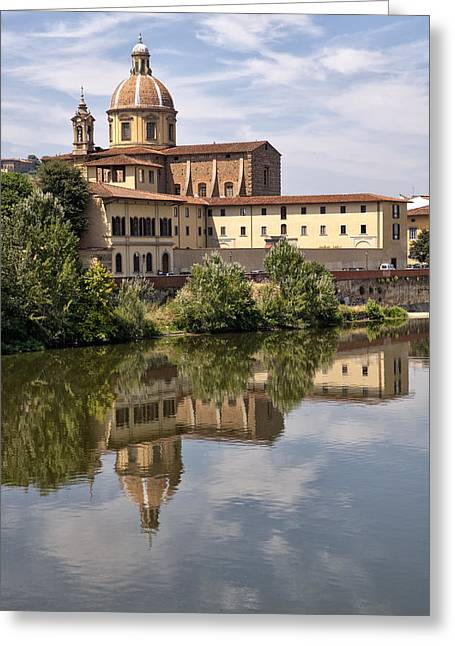 Tranquil Scene Escapism Greeting Cards - Reflections in the Arno River Greeting Card by Melany Sarafis