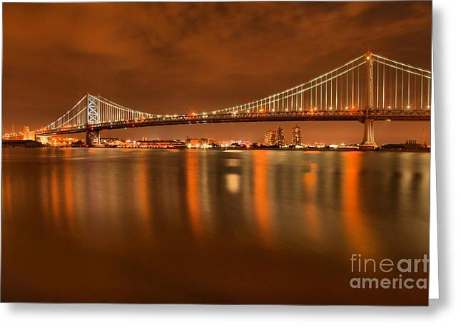 Famous Bridge Greeting Cards - Reflections In The Delaware Greeting Card by Adam Jewell