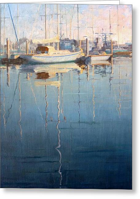 Boats In Harbor Greeting Cards - Reflections in the Harbor Greeting Card by Sharon Weaver