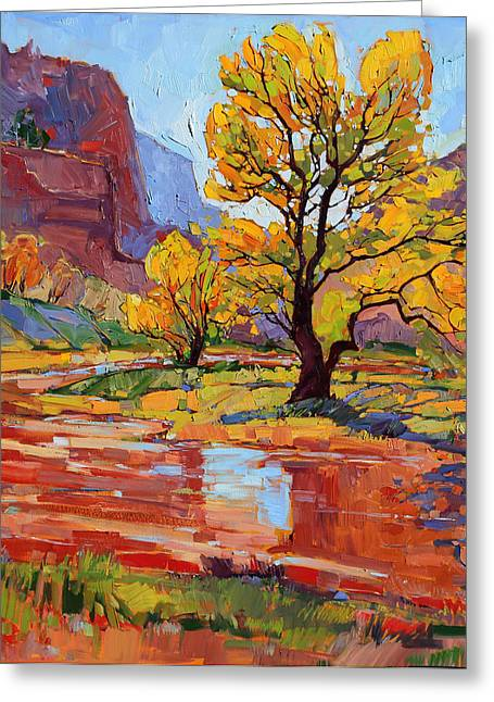 Zion Greeting Cards - Reflections in the Wash Greeting Card by Erin Hanson