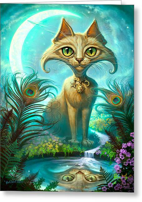 Black Cat Fantasy Greeting Cards - Reflections Greeting Card by Jeff Haynie